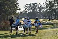 Bubba Watson (USA), Brooks Koepka (USA), and Dustin Johnson (USA) head down 10 during round 1 of The Players Championship, TPC Sawgrass, at Ponte Vedra, Florida, USA. 5/10/2018.<br /> Picture: Golffile | Ken Murray<br /> <br /> <br /> All photo usage must carry mandatory copyright credit (&copy; Golffile | Ken Murray)