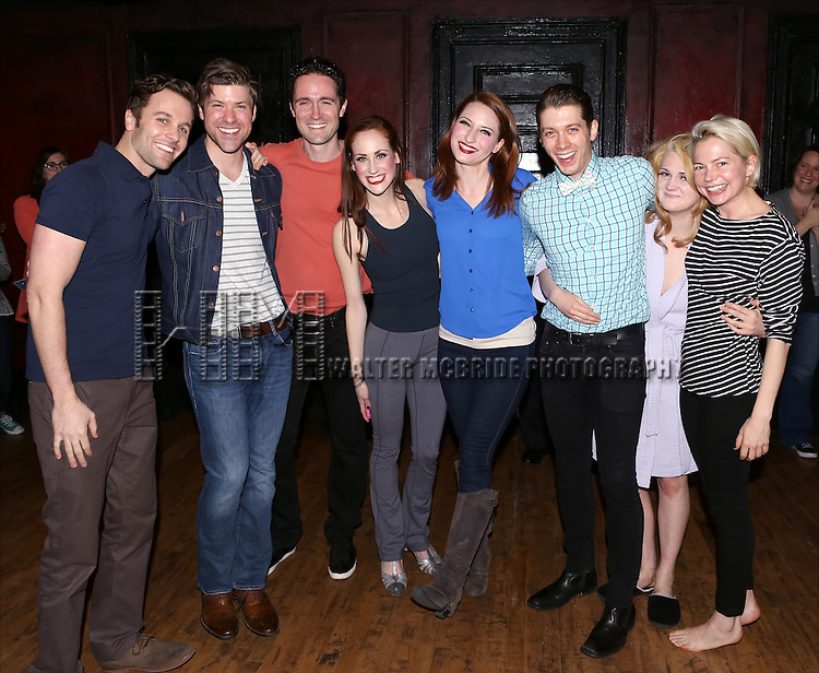 Broadway Debuts: Caleb Damschroder, Dylan Paul, Evan D. Siegel, Kaleigh Cronin, Kelly Paredes, Leeds Hill, Gayle Rankin and Michelle Williams during the Broadway Opening Night Gypsy Robe Ceremony honoring Andrea Goss for 'Cabaret' at Studio 54 on April 24, 2014 in New York City.