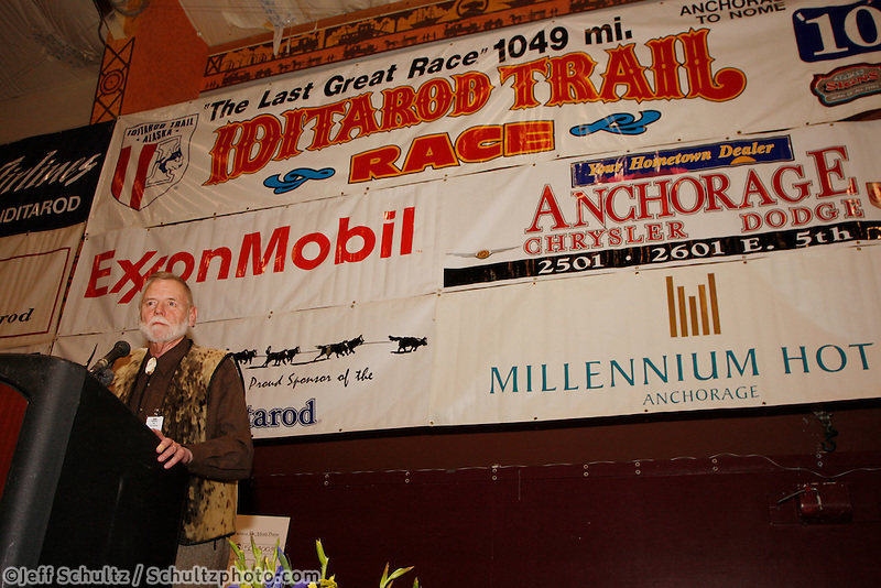Sunday March 21, 2010    Development director Greg Bill at the musher's finish banquet in Nome .