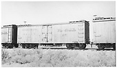 Side view of D&amp;RGW short reefer #36 in train at Alamosa.<br /> D&amp;RGW  Alamosa, CO  Taken by Maxwell, John W. - 7/7/1956