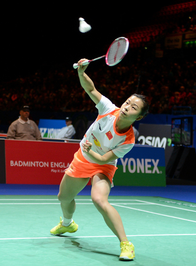 Jin MA [5] [CHN]  in action today during their defeat to Shu CHENG [CHN] and Yunlei ZHAO [CHN in their Woman's Doubles Semi final match. Shu CHENG [CHN] and Yunlei ZHAO [CHN] bt Jin MA [5] [CHN] and Jinhua TANG [CHN]   21-18 21-7..BWF -  2013 Yonex All England Badminton Championships Super Series Premier - The National Indoor Arena - Birmingham - England - Saturday 09th March 2013..© CameraSport - 43 Linden Ave. Countesthorpe. Leicester. England. LE8 5PG - Tel: +44 (0) 116 277 4147 - admin@camerasport.com - www.camerasport.com