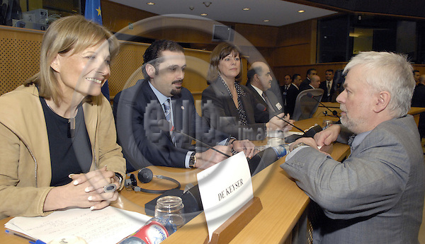 Brussels-Belgium - 01 March 2007---Saad HARIRI (2.le), leader of the parliamentary majority in Lebanon, with MEPs Béatrice (Beatrice) PATRIE (ce) (PSE/F), Chairwoman of the EP-Mashrek-Delegation, Véronique (Veronique) DE KEYSER (le) (PSE/B), and Frank SCHWALBA-HOTH (ri), Ex-MEP and organizer of the event, prior to a panel discussion at the EP in memory of the assassination of his father (R. Hariri)---Photo: Horst Wagner/eup-images