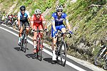 Maximilian Schachmann (GER) Quick-Step Floors, Mattia Cattaneo (ITA) Androni Giocattoli-Sidermec and Ruben Plaza (ESP) Israel Cycling Academy from the breakaway group battle it out approaching the end of Stage 18 of the 2018 Giro d'Italia, running 196km from Abbiategrasso to Prato Nevoso, Italy. 24th May 2018.<br /> Picture: LaPresse/Fabio Ferrari | Cyclefile<br /> <br /> <br /> All photos usage must carry mandatory copyright credit (&copy; Cyclefile | LaPresse/Fabio Ferrari)