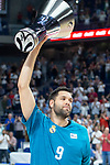 Real Madrid Felipe Reyes with Euroleague champions cup during first match quarter finals of Liga Endesa Playoff between Real Madrid and Iberostar Tenerife at Wizink Center in Madrid, Spain. May 27, 2018. (ALTERPHOTOS/Borja B.Hojas)