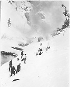 Snow slide in Burns Canyon with RGS rotary #2 almost invisible and many men working.<br /> RGS  Burns Canyon, CO