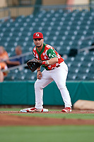 "Palm Beach Cardinals first baseman Chris Chinea (5) during a game against the Charlotte Stone Crabs on July 22, 2017 at Roger Dean Stadium in Palm Beach, Florida.  The Cardinals wore special ""Ugly Sweater"" jerseys for Christmas in July.  Charlotte defeated Palm Beach 5-2.  (Mike Janes/Four Seam Images)"