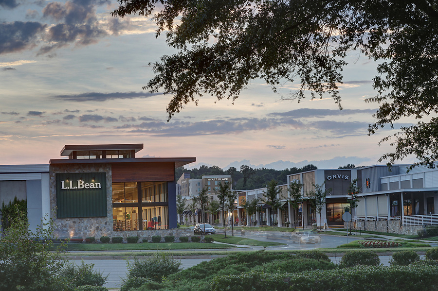The sun sets over L.L. Bean store at The Shops at Stonefield in Charlottesville. Photo/Andrew Shurtleff Photography, LLC