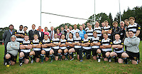 Drybrook, England. Group photo at the RFU and Canterbury Official launch of the new season's England kit at Drybrook RFC Mannings Ground, Gloucestershire, England on September 19, 2012
