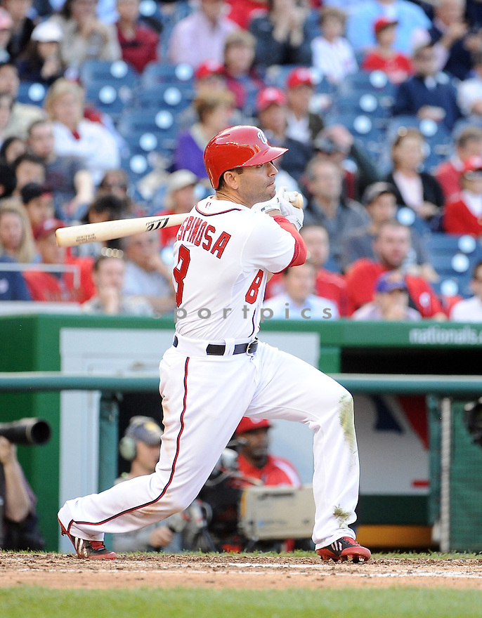 Washington Nationals Danny Espinosa (8) during a game against the Miami Marlins on April 10, 2014 at Nationals Park in Washington DC. The Nationals beat the Marlins 7-1.