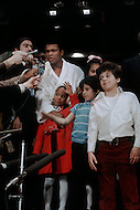 Dec 8, 1970, New York City, New York - Madison Square Garden: Muhammad Ali vs Bonnavena. Ali won by KO on the 15th round. Muhammad Ali with his daughter Laila.