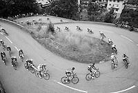 peloton entering the village of Flumet via some short switchbacks<br /> <br /> Stage 20: Megève › Morzine (146.5km)<br /> 103rd Tour de France 2016