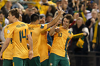 MELBOURNE, 11 JUNE 2013 - Robbie KRUSE of Australia celebrates his goal in a Round 4 FIFA 2014 World Cup qualifier match between Australia and Jordan at Etihad Stadium, Melbourne, Australia. Photo Sydney Low for Zumapress Inc. Please visit zumapress.com for editorial licensing. *This image is NOT FOR SALE via this web site.