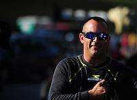 Jun. 15, 2012; Bristol, TN, USA: NHRA top fuel dragster driver Tony Schumacher during qualifying for the Thunder Valley Nationals at Bristol Dragway. Mandatory Credit: Mark J. Rebilas-