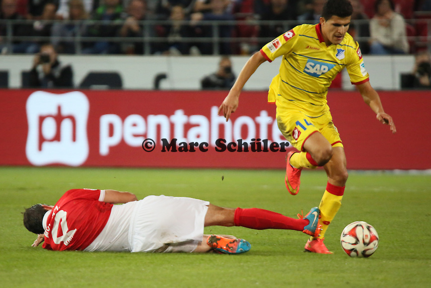 Christoph Moritz (Mainz) gegen Tarik Elyounoussi (Hoffenheim) - 1. FSV Mainz 05 vs. TSG 1899 Hoffenheim, Coface Arena