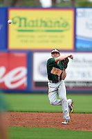 Siena Saints infielder Tyler Martis (1) throws to first during the first game of a doubleheader against the Michigan Wolverines on February 27, 2015 at Tradition Field in St. Lucie, Florida.  Michigan defeated Siena 6-2.  (Mike Janes/Four Seam Images)