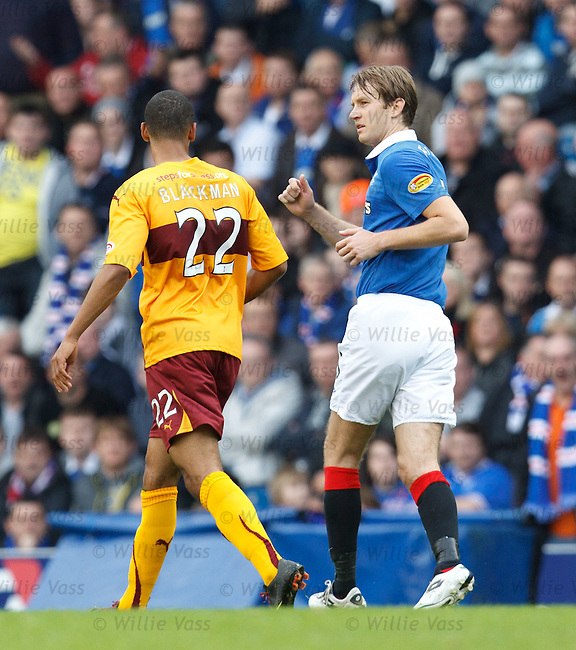 Sasa Papac has words with Nick Blackman after giving the Motherwell man a shove