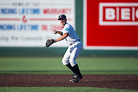 Everett AquaSox shortstop Ryne Ogren (16) throws to first base during a Northwest League game against the Tri-City Dust Devils at Everett Memorial Stadium on September 3, 2018 in Everett, Washington. The Everett AquaSox defeated the Tri-City Dust Devils by a score of 8-3. (Zachary Lucy/Four Seam Images)