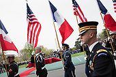 The Honor Guard arrives for the welcoming ceremonyof President Emmanuel Macron and Mrs. Brigitte Macron of France to The White House in Washington, DC, April 24, 2018. Credit: Chris Kleponis / Pool via CNP