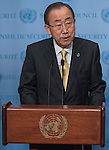 United Nation SG Ban Ki Moon speaks to the press at the SC stakeout