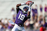 TCU Horned Frogs cornerback Cyd Calvin (19) in action during the game between the Samford Bulldogs and the TCU Horned Frogs at the Amon G. Carter Stadium in Fort Worth, Texas.  TCU leads Stamford 24 to 7 at halftime.