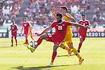 Mohammed Darwish of Palestine (L) fights for the ball with Chris Ikonomidis of Australia during the AFC Asian Cup UAE 2019 Group B match between Palestine (PLE) and Australia (AUS) at Rashid Stadium on 11 January 2019 in Dubai, United Arab Emirates. Photo by Marcio Rodrigo Machado / Power Sport Images