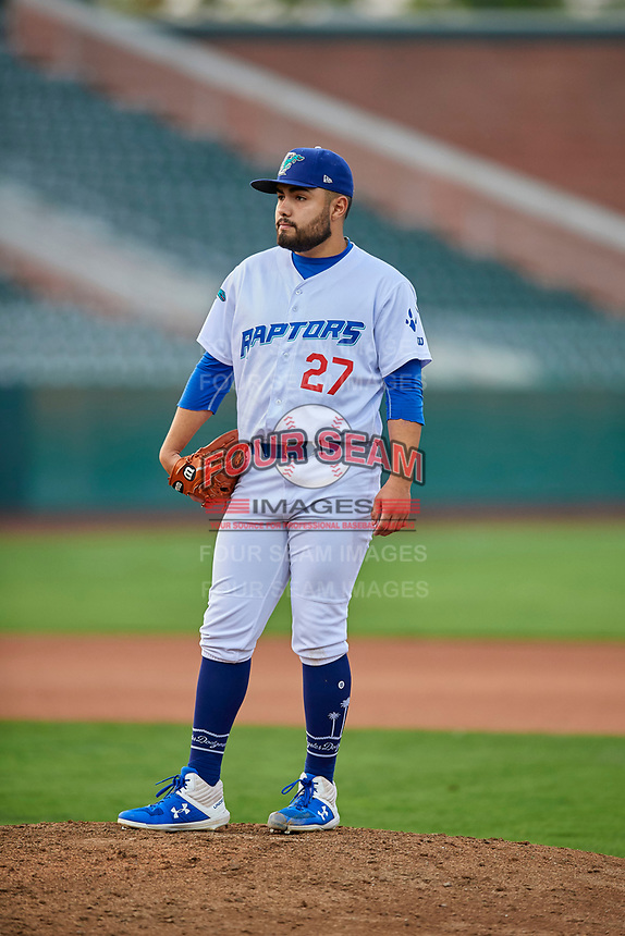 Antonio Hernandez (27) of the Ogden Raptors looks to the plate against the Grand Junction Rockies at Lindquist Field on September 9, 2019 in Ogden, Utah. The Raptors defeated the Rockies 6-5. (Stephen Smith/Four Seam Images)