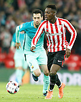 Athletic de Bilbao's Inaki Williams (r) and FC Barcelona's Sergio Busquets during Spanish Kings Cup match. January 05,2017. (ALTERPHOTOS/Acero)