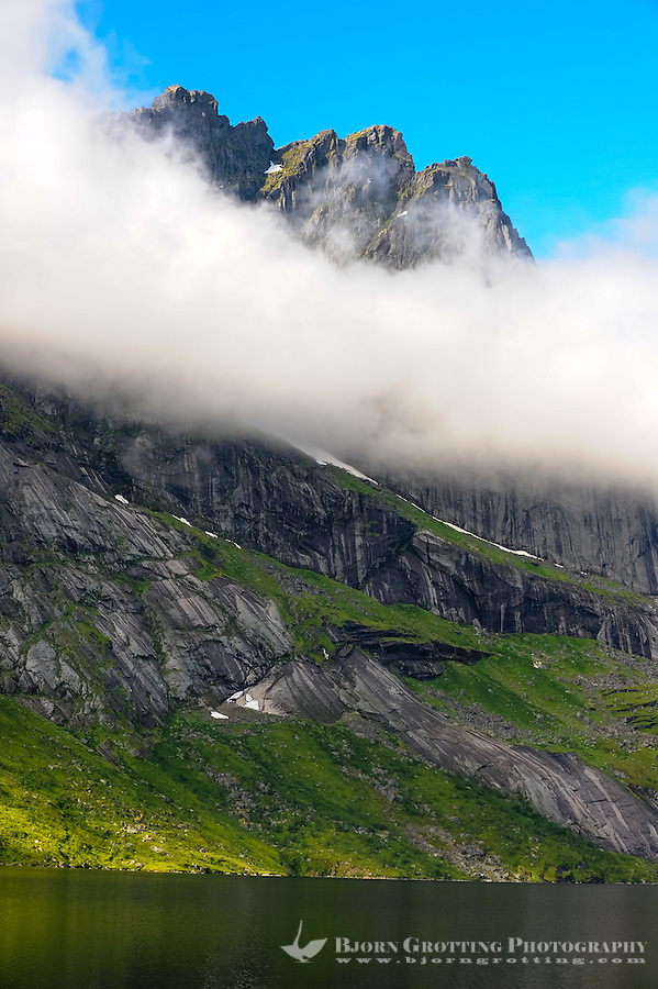 Norway, Lofoten. Mountain peaks close to Nusfjord.