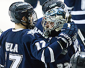 The Merrimack College Warriors defeated the visiting University of New Hampshire Wildcats in game 3 of the first round of the Hockey East playoffs on Sunday, March 6, 2016, at J. Thom Lawler Rink in North Andover, Massachusetts.