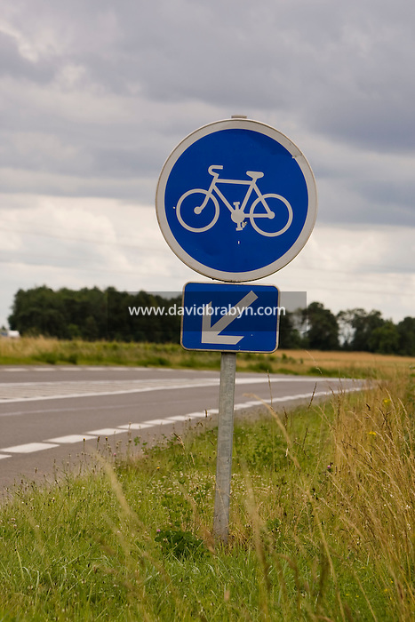 A cycle path sign on a major road near Athee-sur-Cher, France, 25 June 2008.