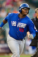 Las Vegas 51s first baseman Mike McDade #40 runs to first base during the Pacific Coast League baseball game against the Round Rock Express on August 7th, 2012 at the Dell Diamond in Round Rock, Texas. The Express defeated the 51s 5-4. (Andrew Woolley/Four Seam Images).