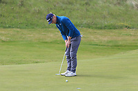 Runar Arnorsson (ICE) on the 4th green during Round 1 of the The Amateur Championship 2019 at The Island Golf Club, Co. Dublin on Monday 17th June 2019.<br /> Picture:  Thos Caffrey / Golffile<br /> <br /> All photo usage must carry mandatory copyright credit (© Golffile | Thos Caffrey)