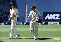 Henry Nicholls thanks supporters at the tea break after scoring a century.<br /> New Zealand Blackcaps v England. 1st day/night test match. Eden Park, Auckland, New Zealand. Day 4, Sunday 25 March 2018. &copy; Copyright Photo: Andrew Cornaga / www.Photosport.nz