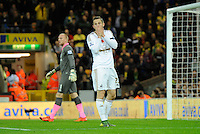 Gylfi Sigurosson of Swansea City reacts after faiiing to score during the Barclays Premier League match between Norwich City and Swansea City played at Carrow Road, Norwich on November 7th 2015