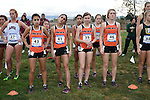 November 1, 2014; Sunnyvale, CA, USA; Pacific Tigers women's cross country team during the WCC Cross Country Championships at Baylands Park.