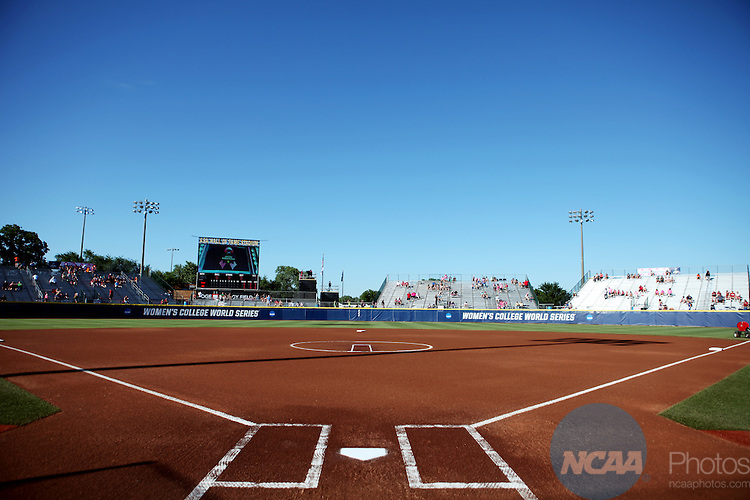06 JUNE 2016: The Division I Women's Softball Championship is held at ASA Hall of Fame Stadium in Oklahoma City, OK.  University of Oklahoma defeated Auburn University in Game 1 by the final score of 3-2. Shane Bevel/NCAA Photos