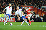 Gareth Bale of Wales scores the opening goal of the game during the FIFA World Cup Qualifying match at the Cardiff City Stadium, Cardiff. Picture date: November 12th, 2016. Pic Robin Parker/Sportimage