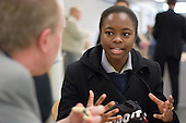 A Haverstock School pupil questions council leader Keith Moffitt during a public consultation on Camden Together, Camden Council's community strategy for 2007-2012; Haverstock School, Chalk Farm.