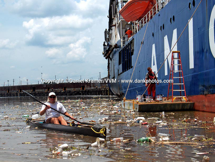 Canoeing from Houston's Buffalo Bayou through the Shipping Channel to Galveston Bay