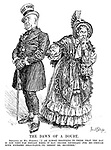 "The Dawn of a Doubt. Britannia (as Mrs Micawber). ""I am almost beginning to think that the day is not very far distant when it may become necessary for me - though with extreme reluctance - to desert Mr Micawber."" (Mr Micawber wears the Free Trade hat)"