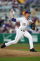 LSU Tigers pitcher Aaron Nola #10 delivers a pitch to the plate against the Auburn Tigers in the NCAA baseball game on March 22nd, 2013 at Alex Box Stadium in Baton Rouge, Louisiana. LSU defeated Auburn 9-4. (Andrew Woolley/Four Seam Images).