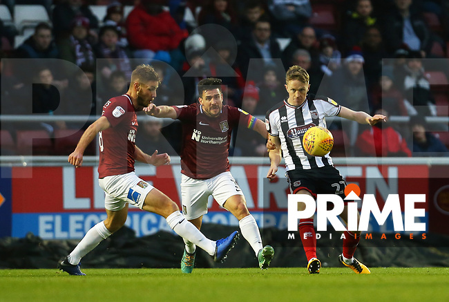 Luke Hendrie of Grimsby Town wins the ball during the Sky Bet League 2 match between Northampton Town and Grimsby Town at Sixfields Stadium, Northampton, England on 24 November 2018. Photo by Leila Coker / PRiME Media Images.