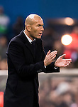 Coach Zinedine Zidane of Real Madrid reacts during their La Liga match between Atletico de Madrid and Real Madrid at the Vicente Calderón Stadium on 19 November 2016 in Madrid, Spain. Photo by Diego Gonzalez Souto / Power Sport Images