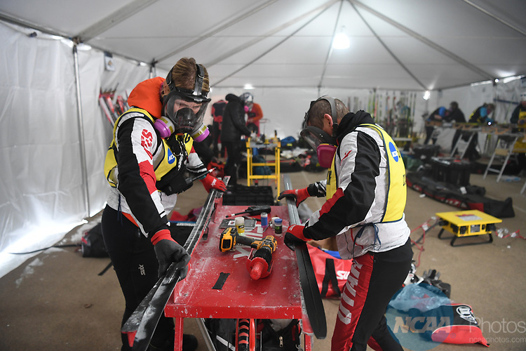 FRANCONIA, NH - MARCH 11:   University of Utah Nordic coaches prepare skis prior the Men's 20K Freestyle event at the Division I Men's and Women's Skiing Championships held at Jackson Ski Touring on March 11, 2017 in Jackson, New Hampshire. (Photo by Gil Talbot/NCAA Photos via Getty Images)