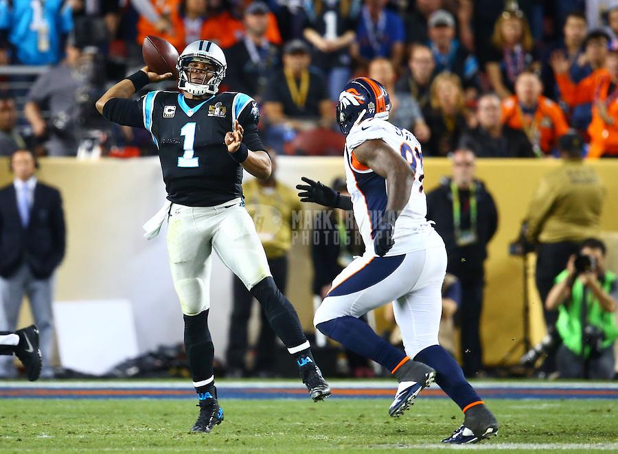 Feb 7, 2016; Santa Clara, CA, USA; Carolina Panthers quarterback Cam Newton (1) against the Denver Broncos during Super Bowl 50 at Levi's Stadium. Mandatory Credit: Mark J. Rebilas-USA TODAY Sports