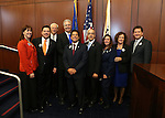 Members of the Nevada Sesquicentennial planning committee pose with Senate leaders on the Senate floor at the Legislative Building in Carson City, Nev., on Monday, Feb. 18, 2013. .Photo by Cathleen Allison