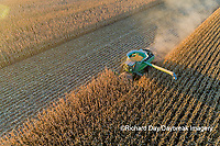 63801-12801 Harvesting corn in fall-aerial  Marion Co. IL