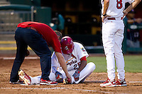 Oscar Taveras (25) of the Springfield Cardinals sits on the ground after being hit by a pitch during a game against the Arkansas Travelers at Hammons Field on July 25, 2012 in Springfield, Missouri. (David Welker/Four Seam Images)