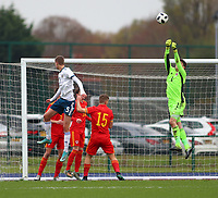 16th November 2019; Leckwith Stadium, Cardiff, Glamorgan, Wales; European Championship Under 19 2020 Qualifiers, Russia under 19s versus Wales under 19s; Lewis Webb of Wales Under 19 punches the ball clear from the corner - Editorial Use