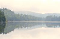 Morning fog on northern lake<br /> Near Schreiber<br /> Ontario<br /> Canada